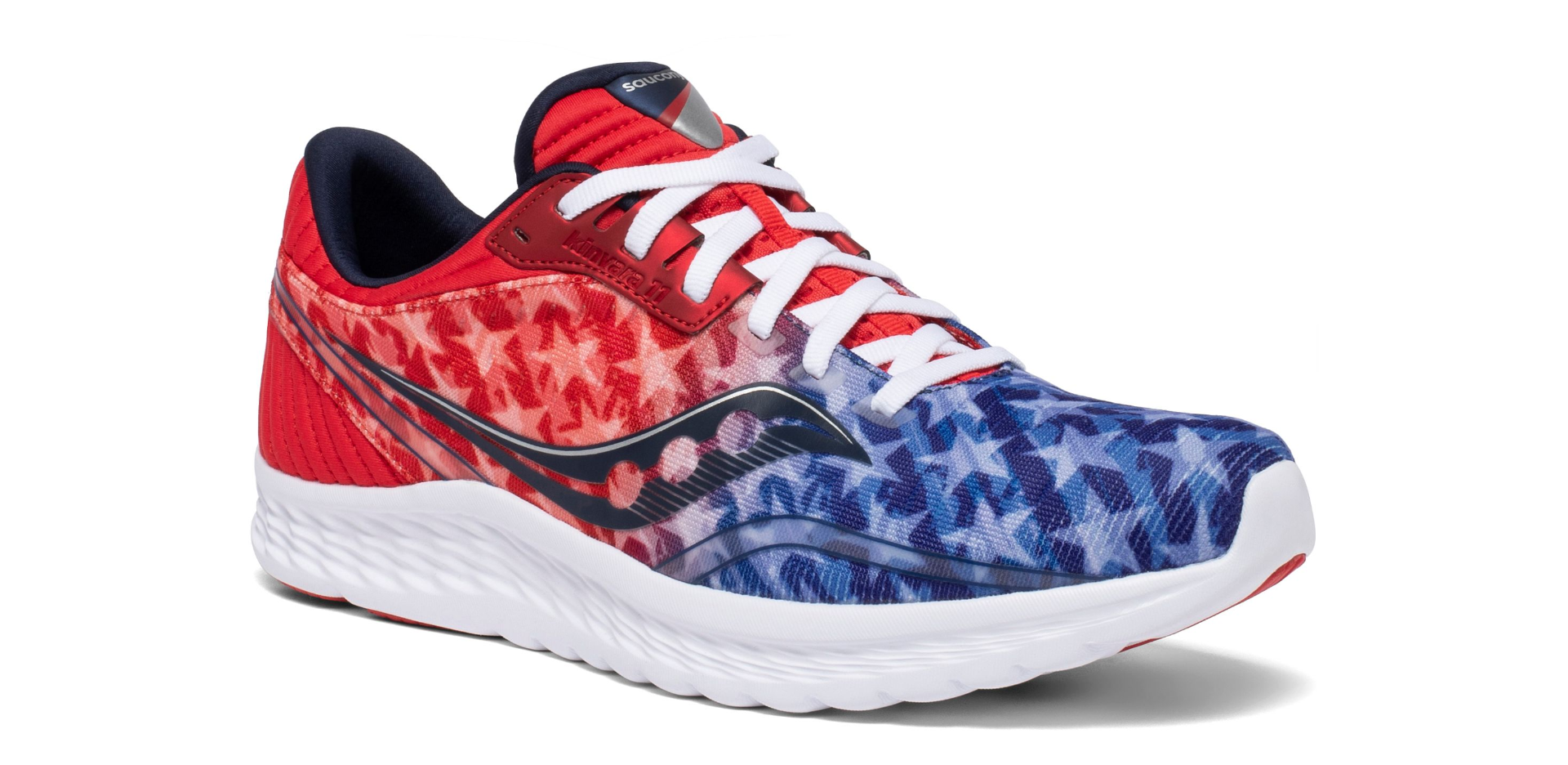 Red and blue shoe with stars overlayed and white laces and sole