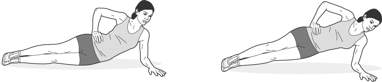 Illustration of woman performing side plank