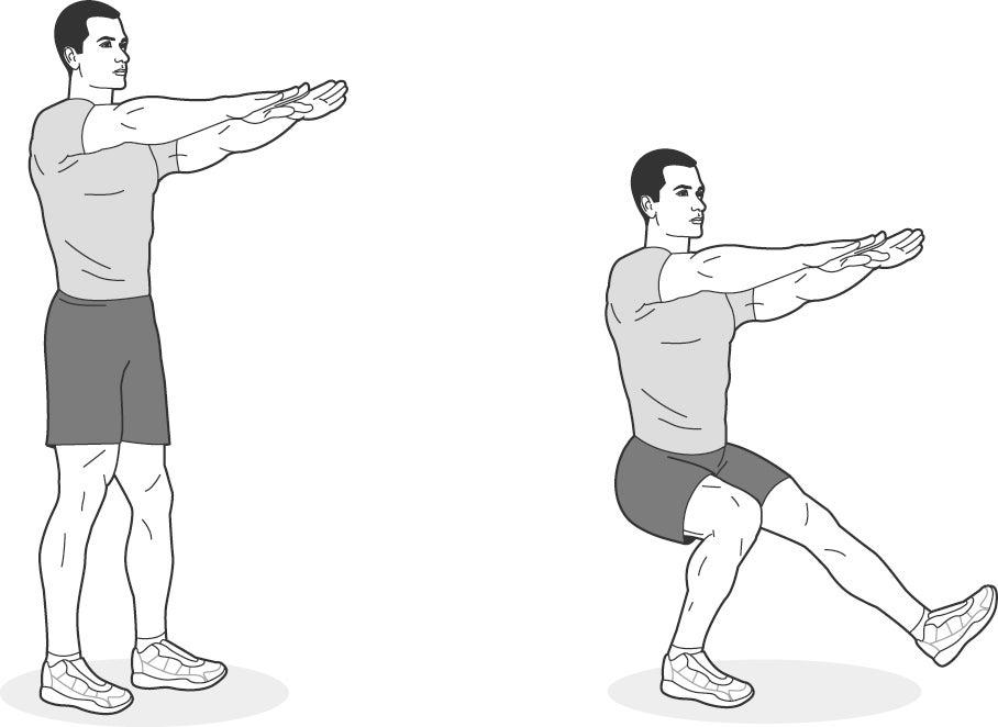 Illustration of man performing a single-leg squat