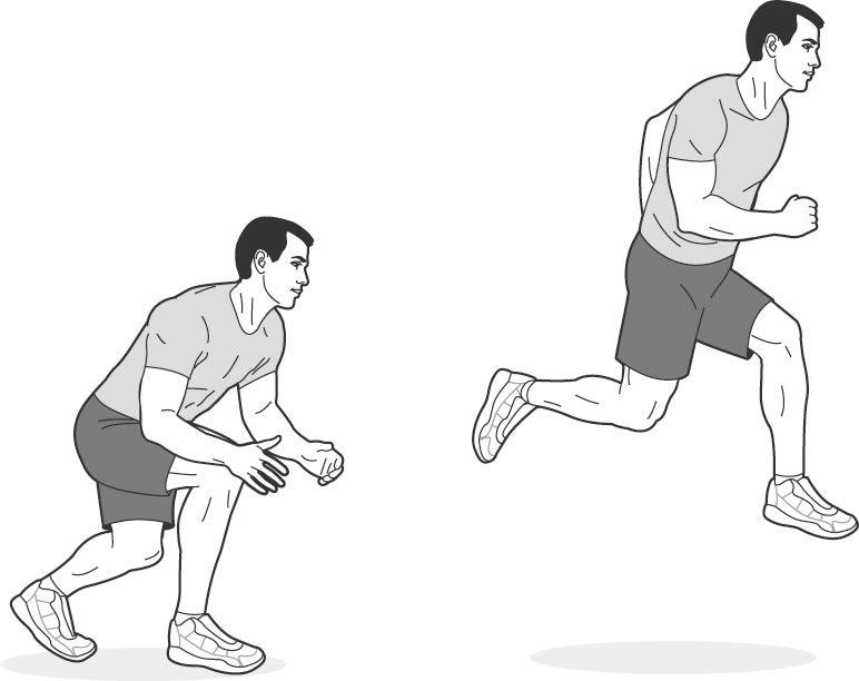 Illustration of man performing a split squat jump