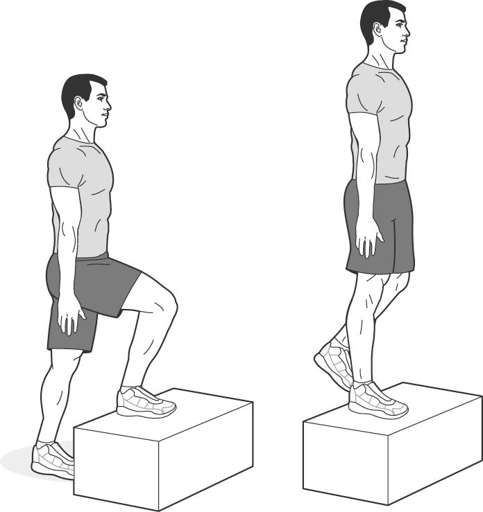 Illustration of man performing a step-up