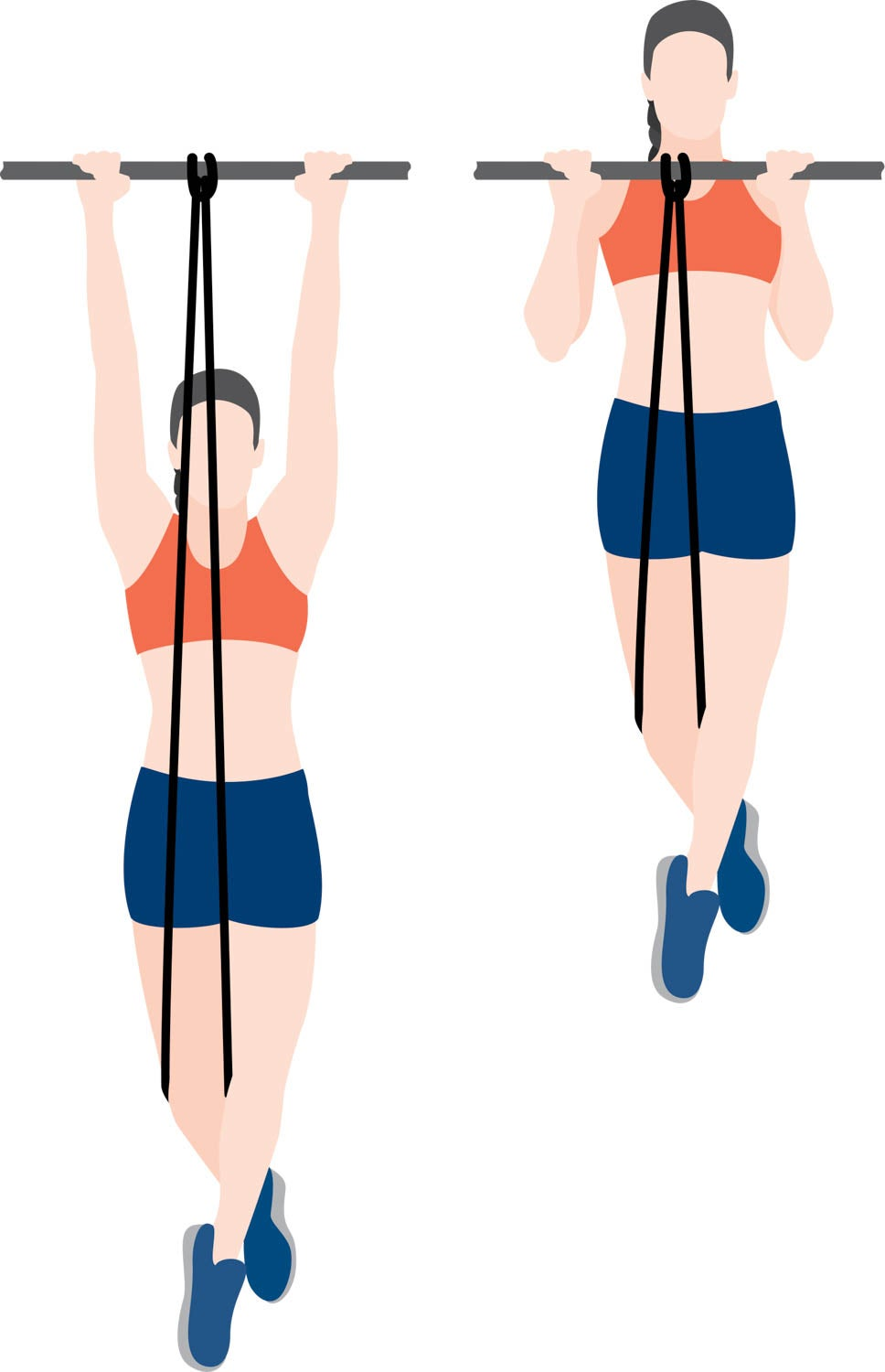 Illustration of woman performing assisted pull-ups