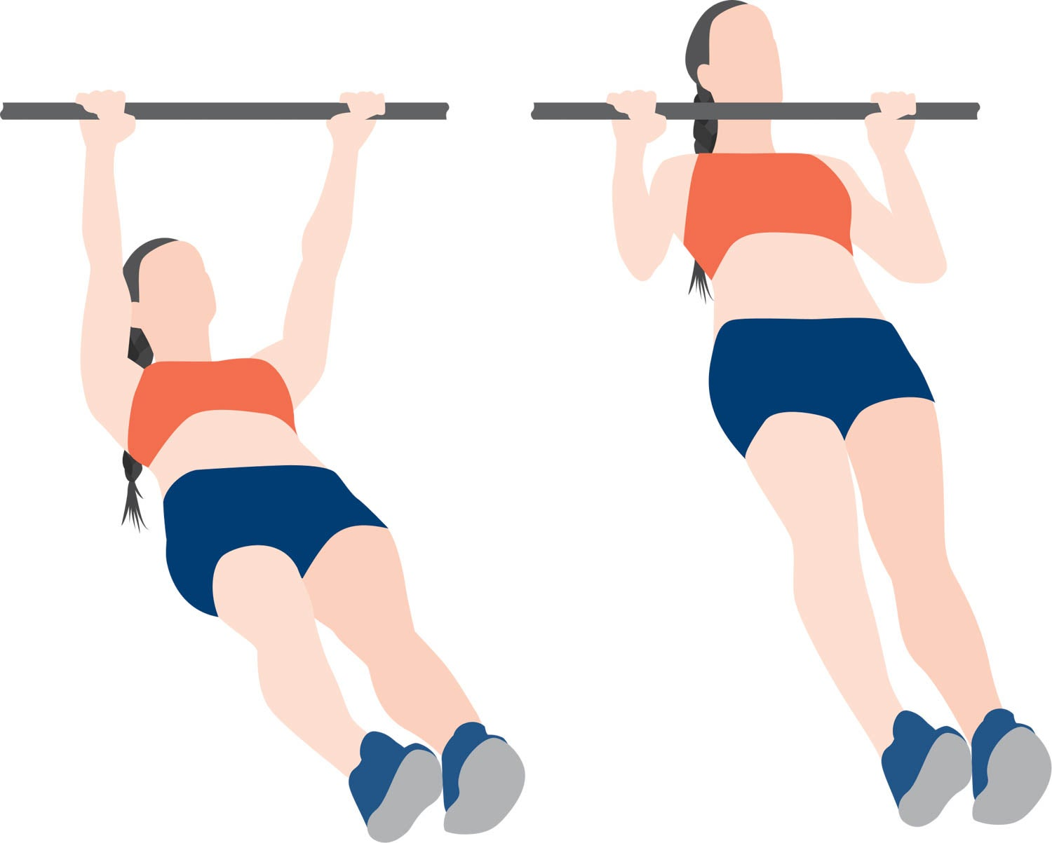 Illustration of woman performing an inverted row