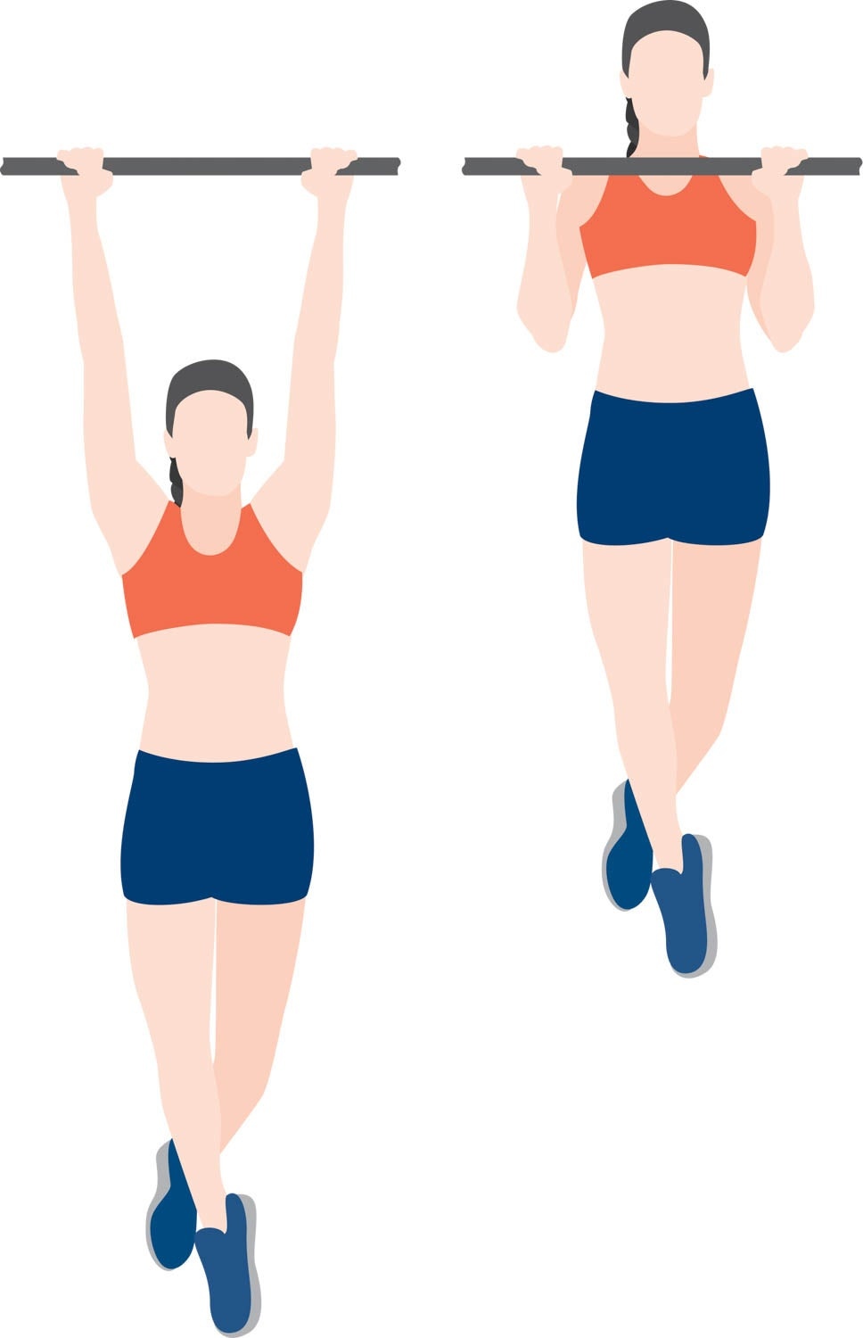 Illustration of woman performing a pull-up