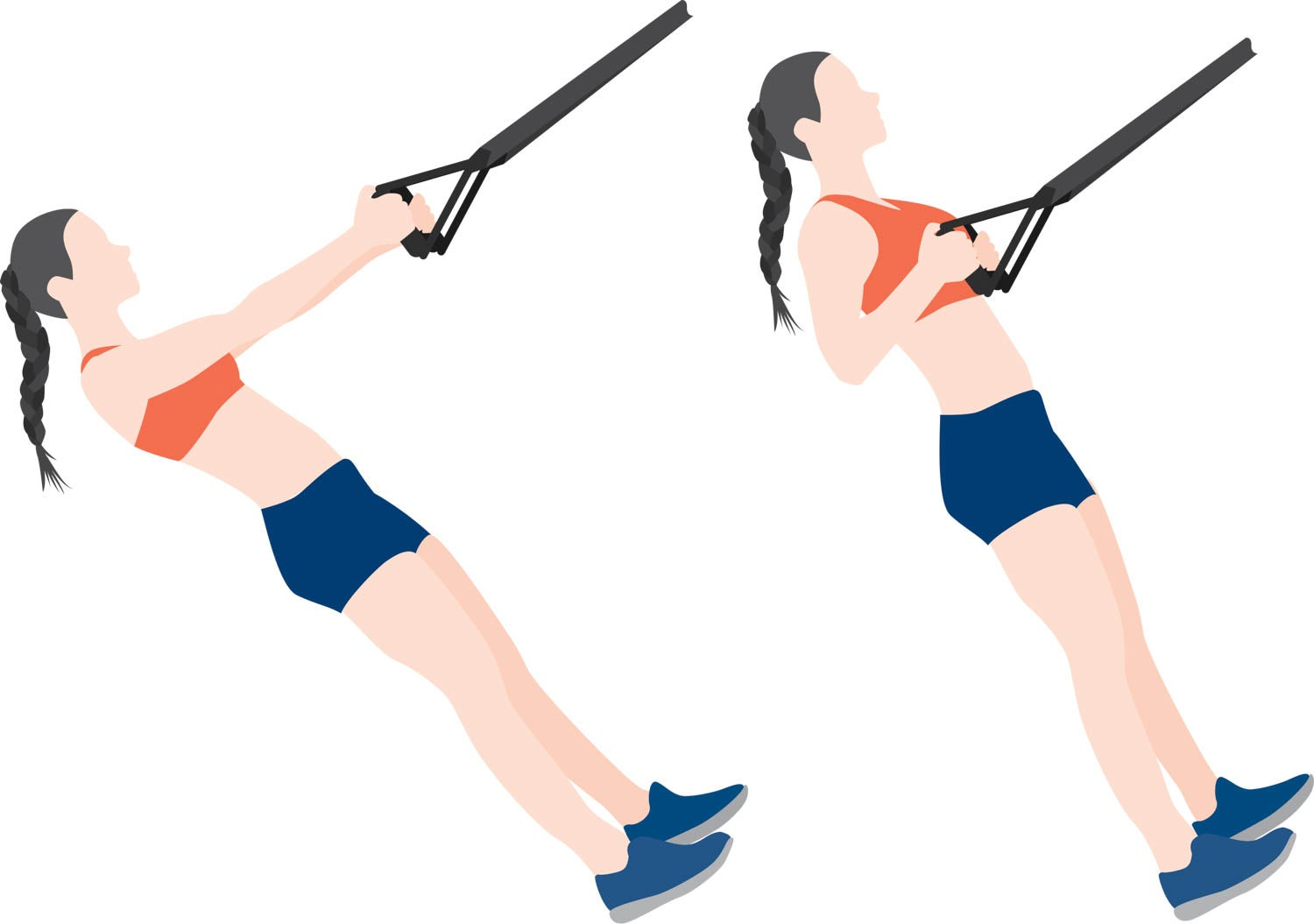 Illustration of woman rowing with a suspension trainer
