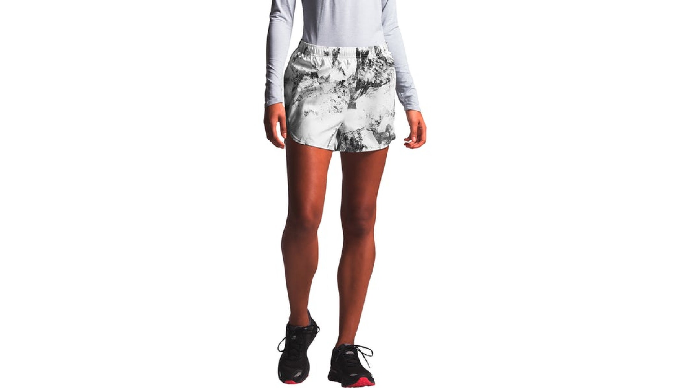 Women's The North Face white pattern active trail run shorts