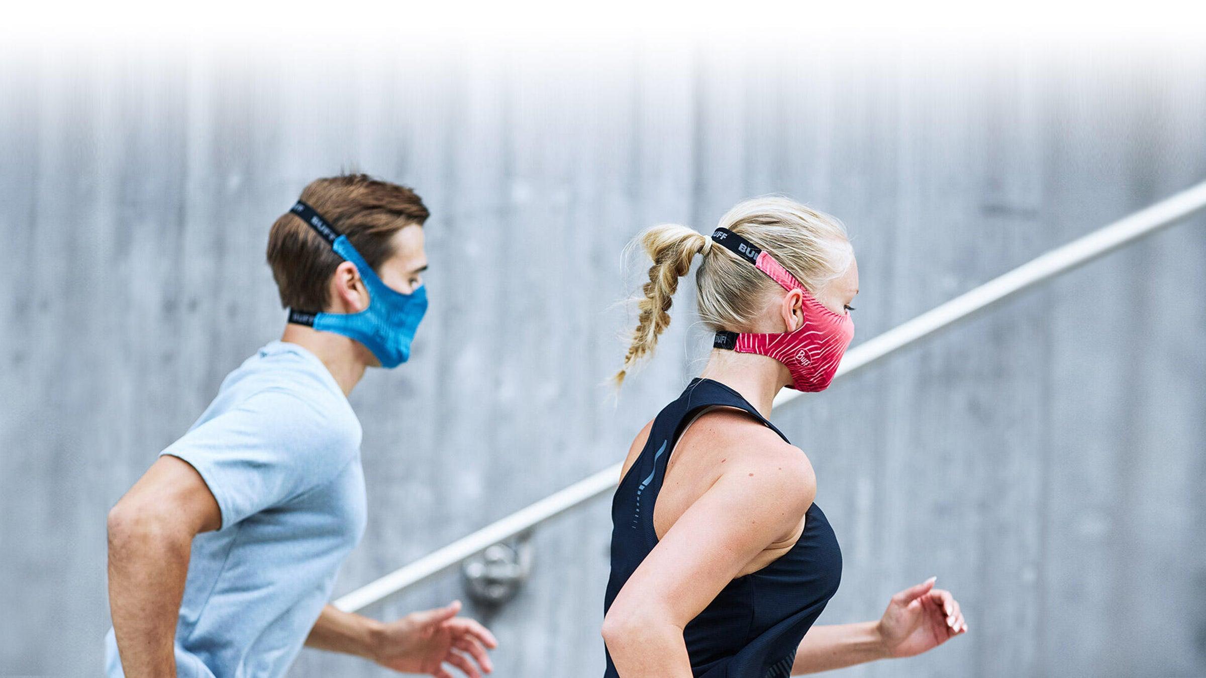 Runners wearing Buff filter face mask