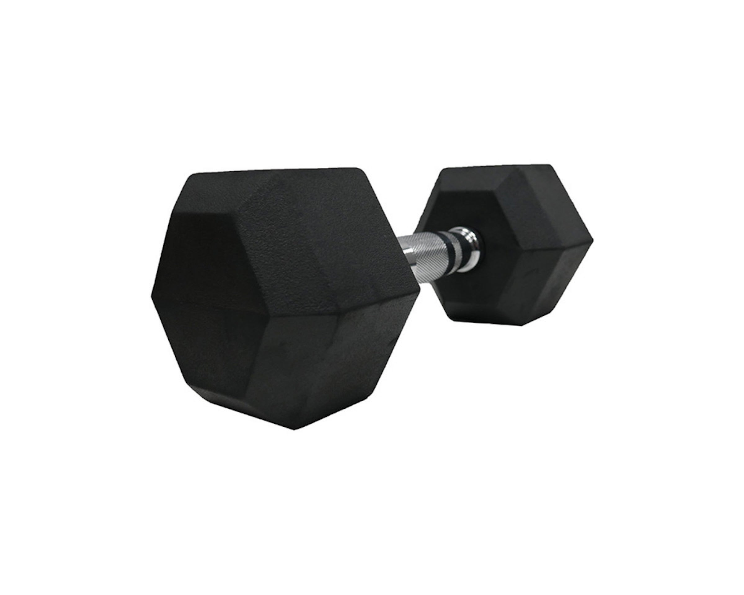a single Perform Better rubber hex-shaped dumbbell on white background