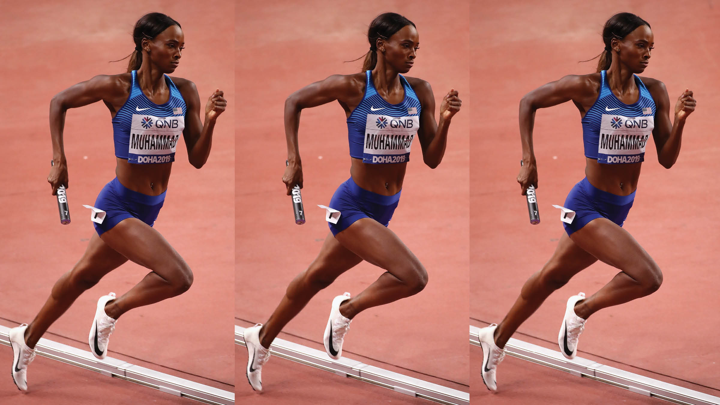 Delilah Muhammad competes for Team USA on the track