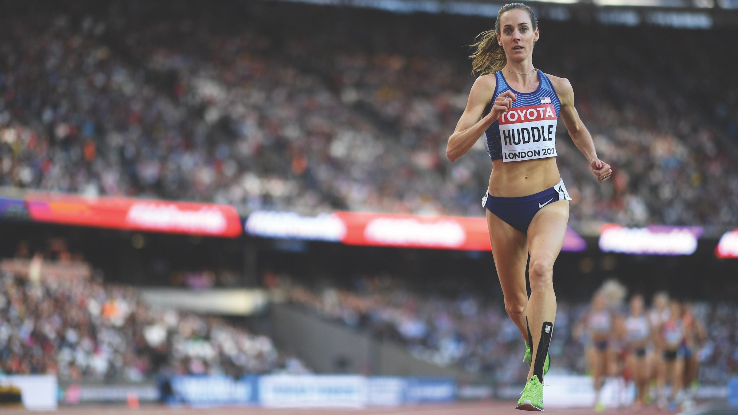 Molly Huddle competes in the 5,000 on the track