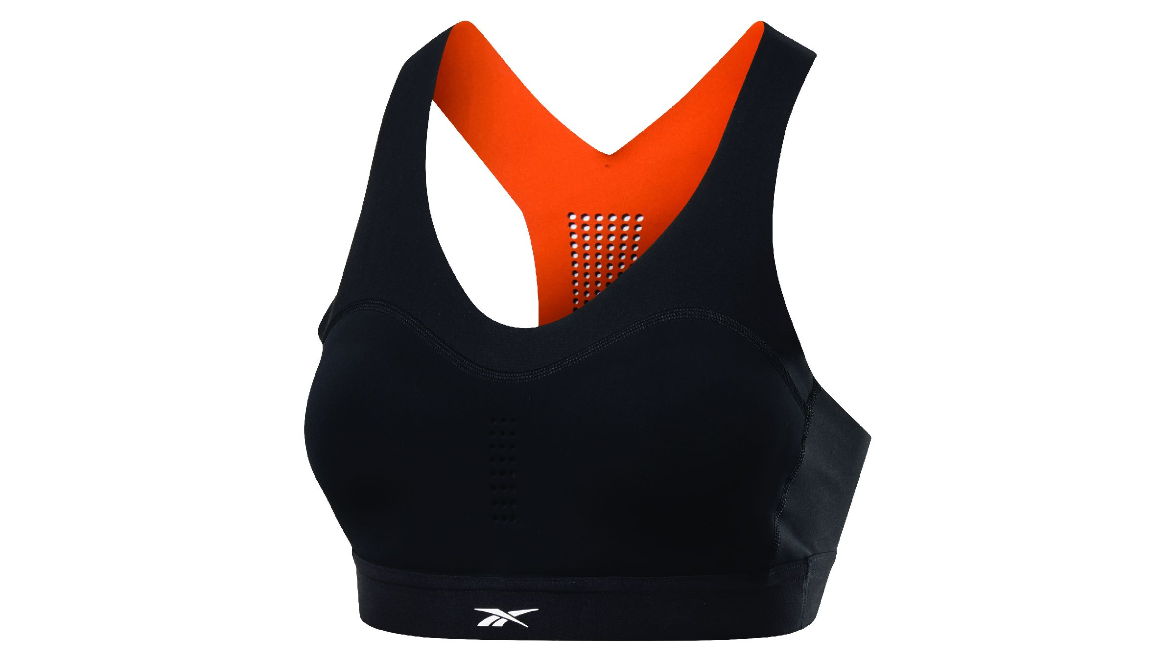Black Reebok Pure Move Bra with bright orange lining