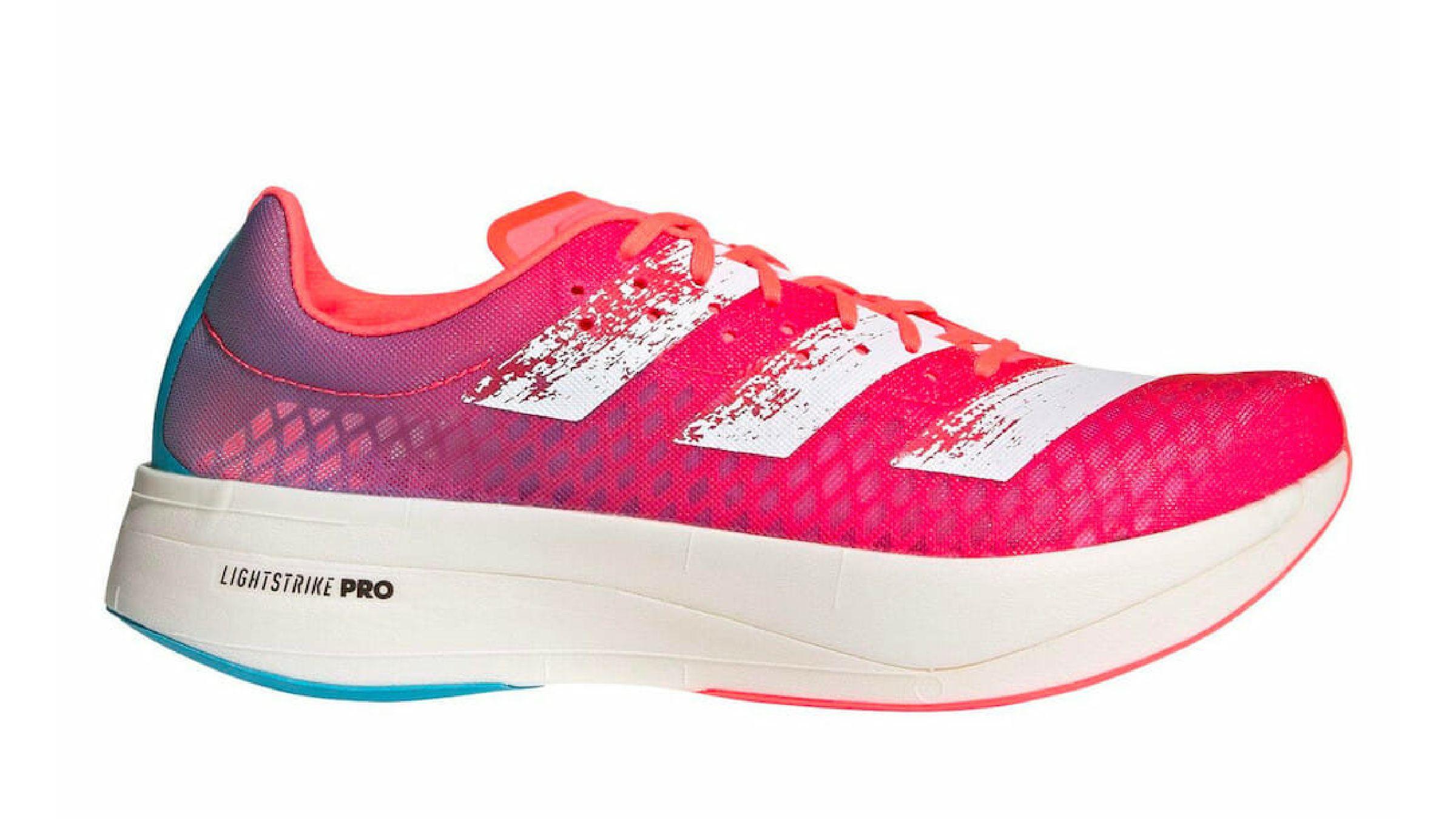 Neon pink Adidas Adizero Adios Pro running shoe