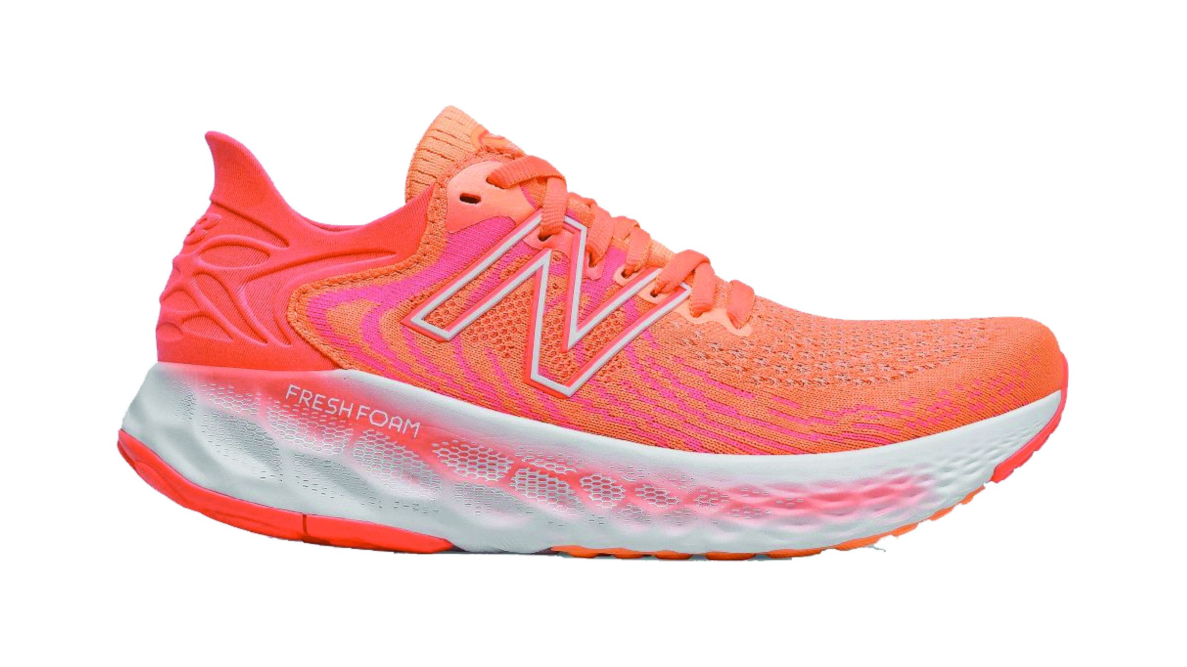 Orange and pink New Balance1080 v11 running shoe