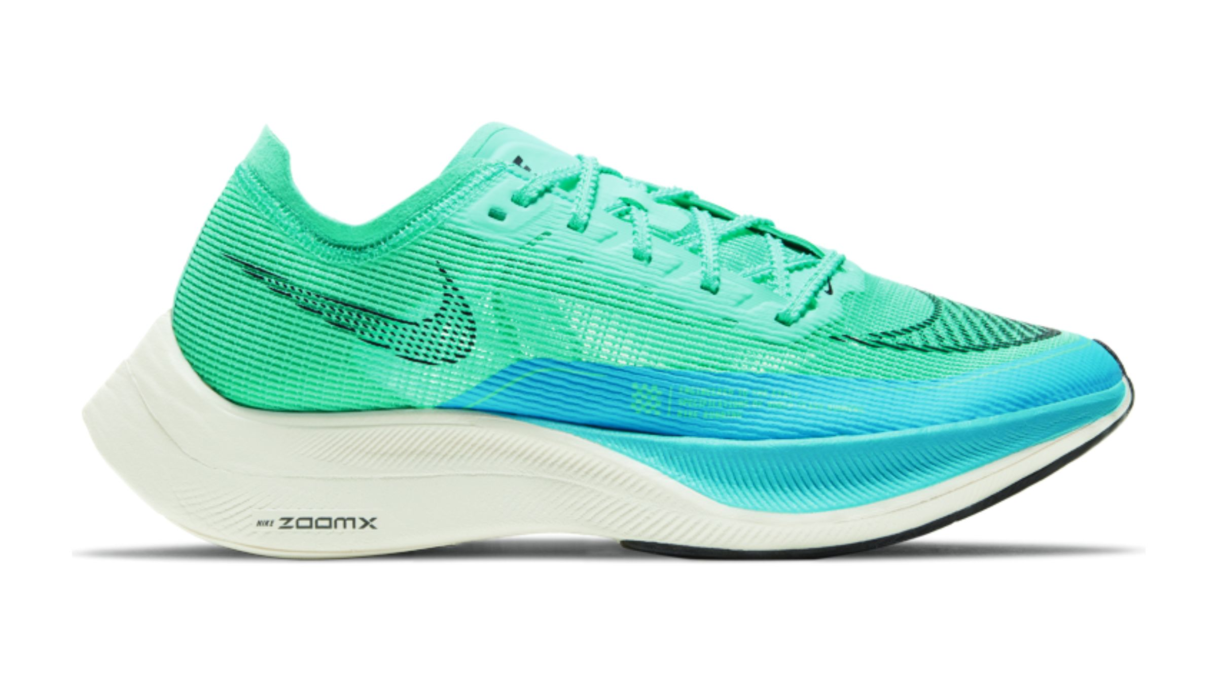 Light green and blue Nike Vaporfly NEXT% 2 running shoe