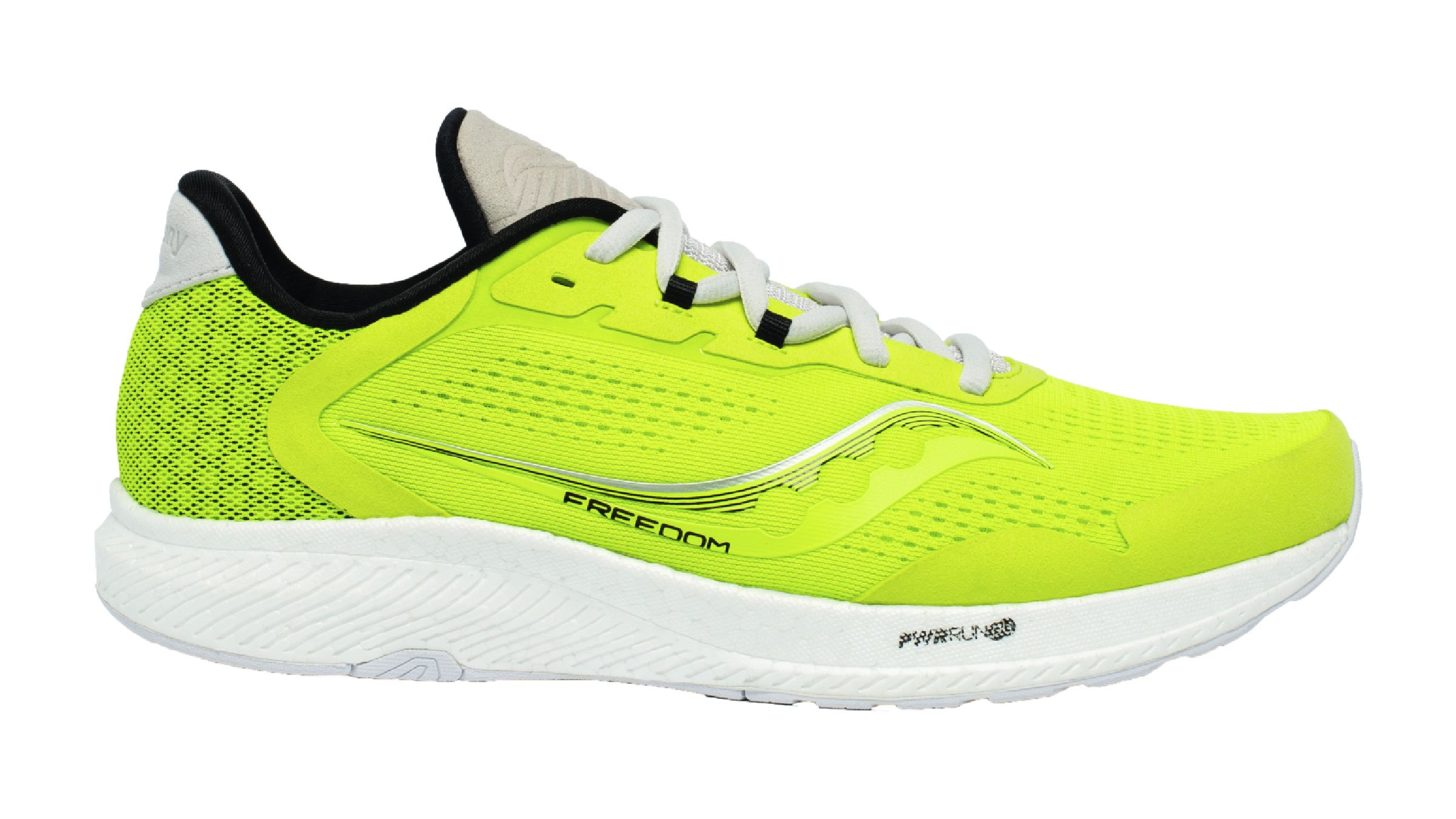 Neon yellow Saucony Freedom running shoe