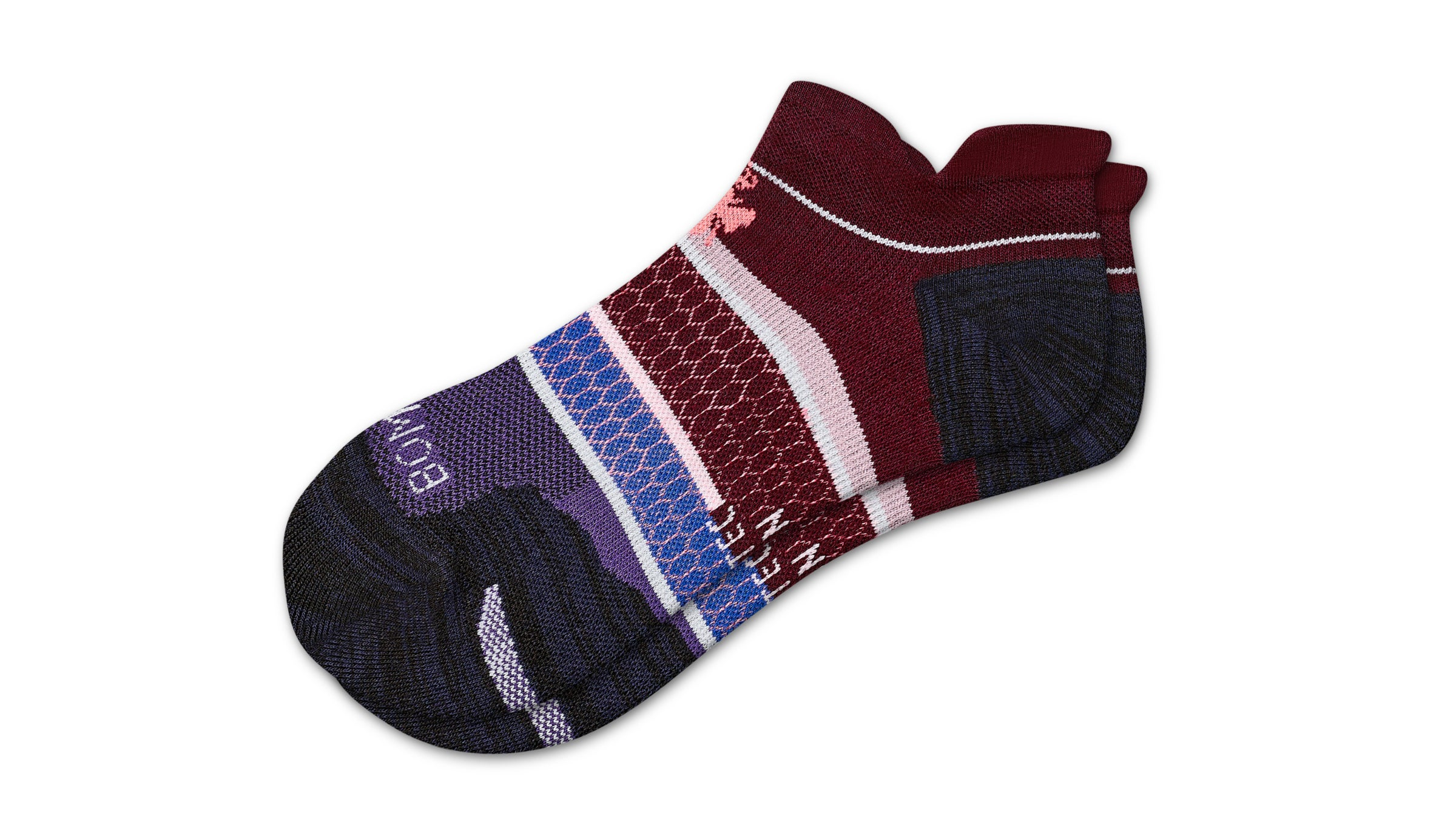 Purple and plum patterned low-cut socks