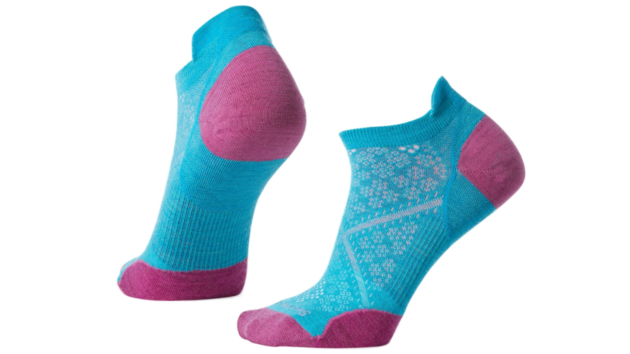 Teal and pink low-cut socks